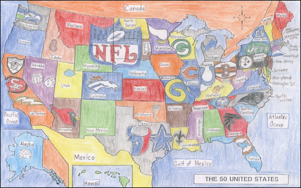 Football Map Nfl Teams USA Football Stats And Stuff - Nfl us map